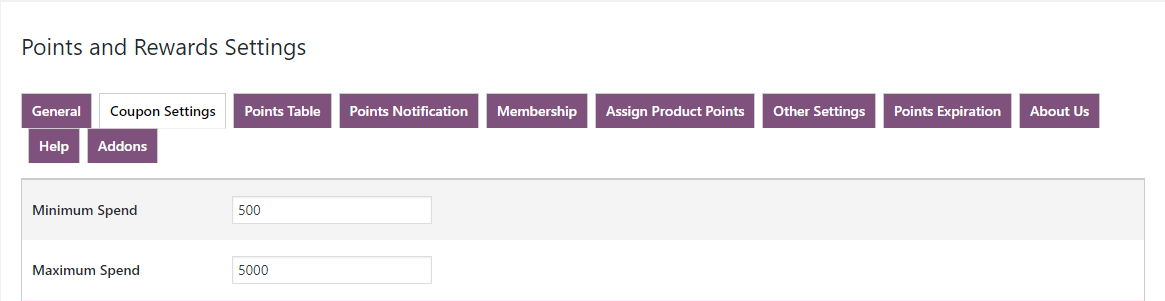 woocommerce points and rewards-max-min-spend