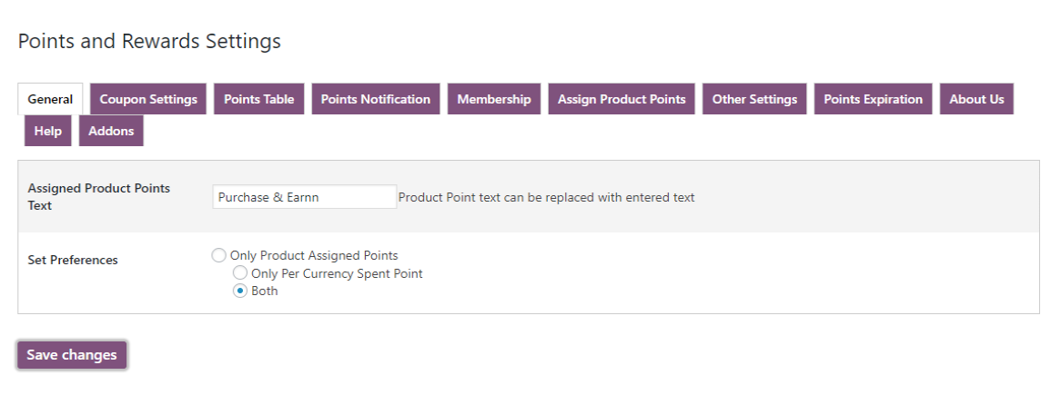 woocommerce points and rewards-points-notification-text-prefrences