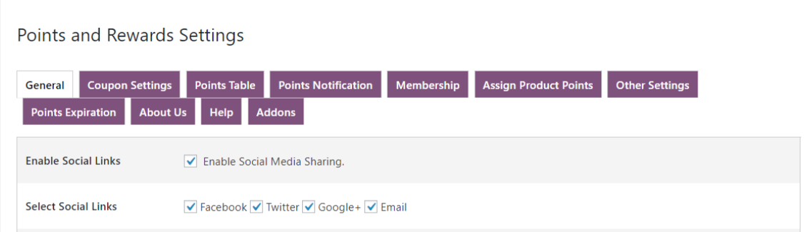 woocommerce points and rewards- points-share-link-on-social-media-backend