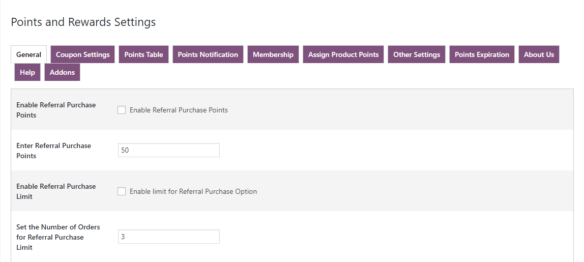 woocommerce points and rewards-referal-purchase-points-only