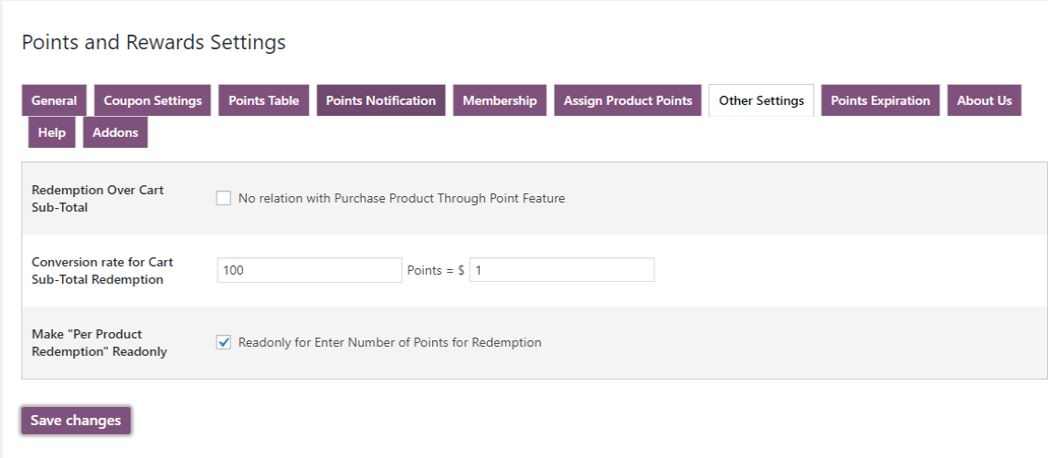 woocommerce points and rewards-static-redemption-points