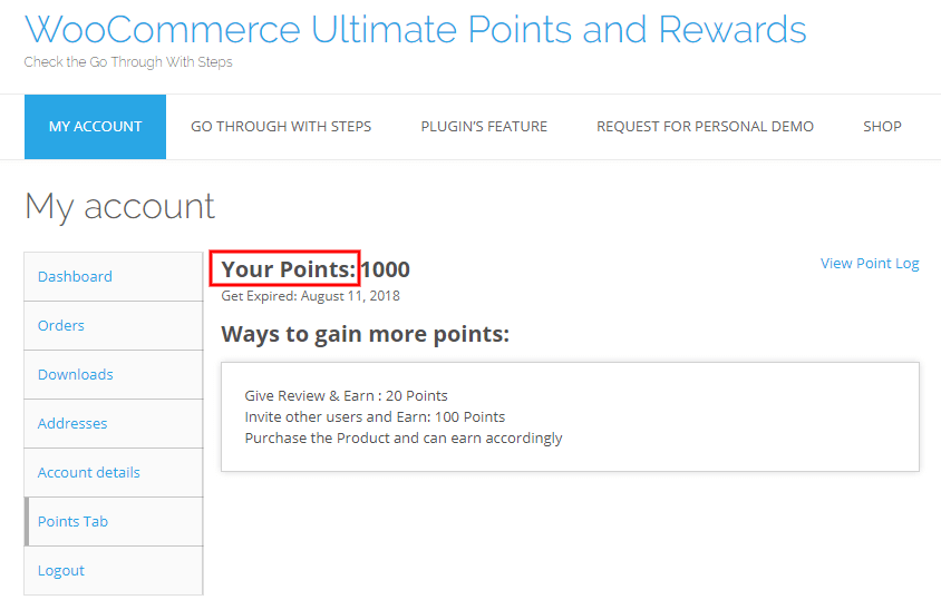 woocommerce points and rewards-text-setting-front-end