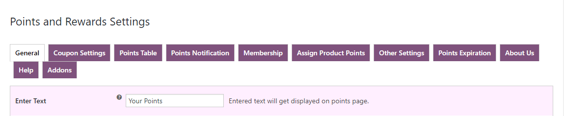 woocommerce points and rewards-text-setting