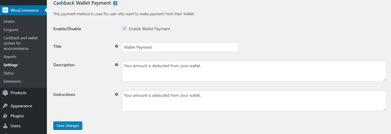 WooCommerce Cashback and Credit Wallet system-wallet-setting
