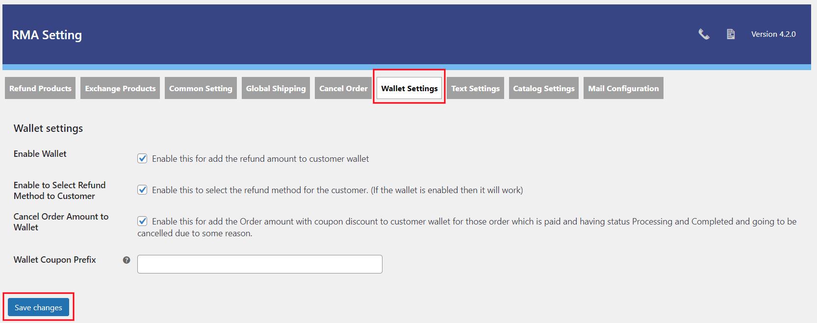 wallet setting