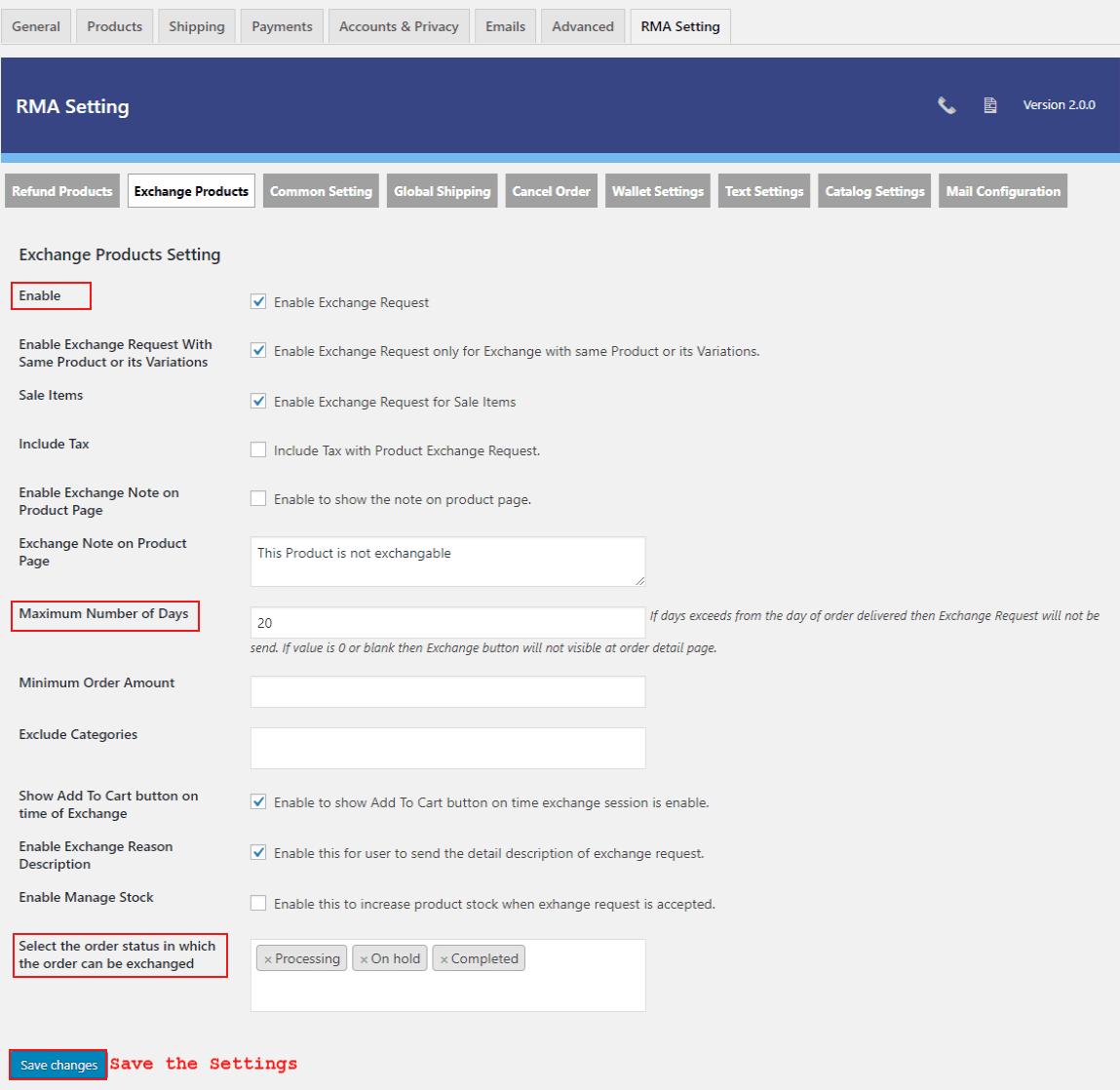 woocommerce-return-refund-exchange-exchange-setting