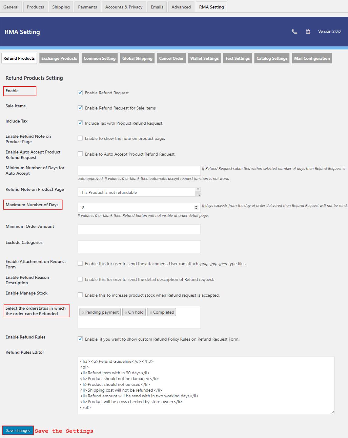woocommerce-return-refund-exchange-refund-setting