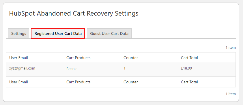 HubSpot Abandoned Cart Recovery Regestered User Cart Data