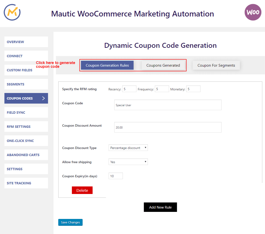 mautic-woocommerce-integration-generate-coupons