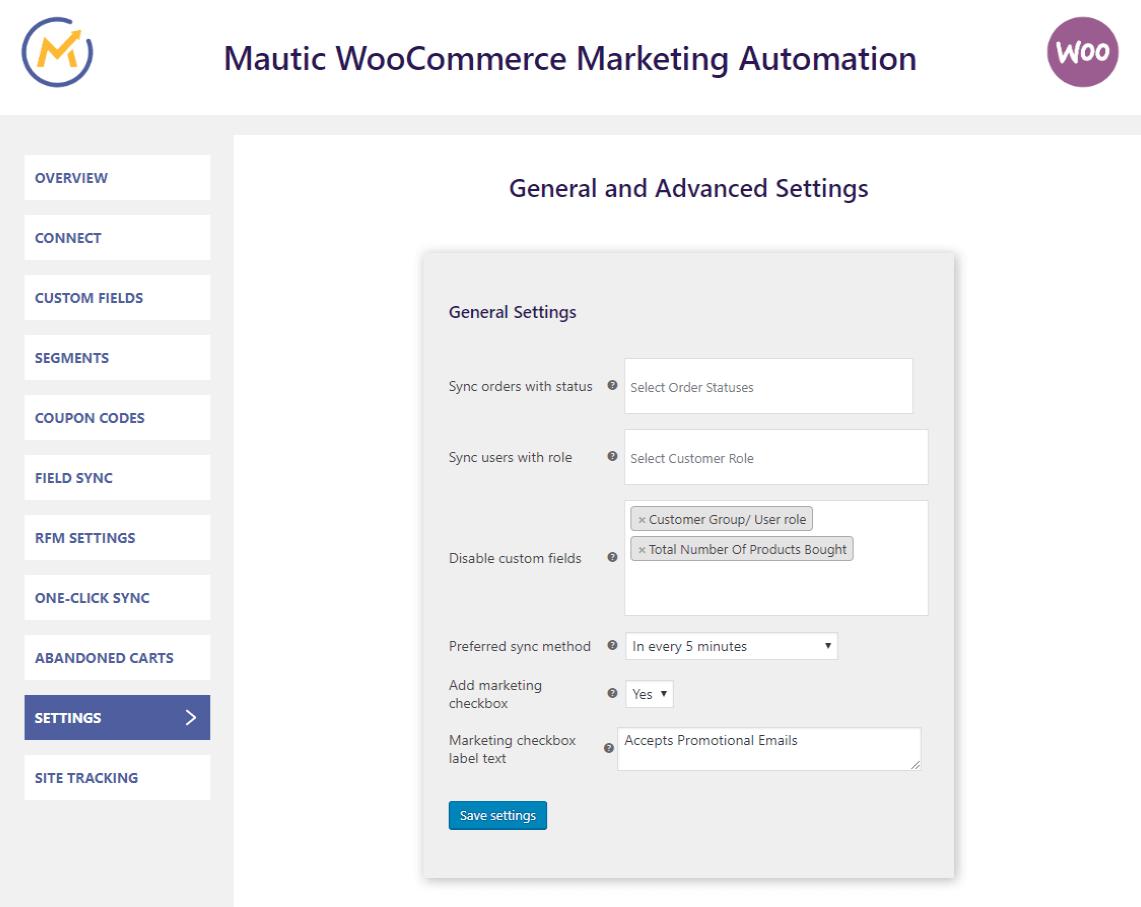 mautic-woocommerce-integration-settings