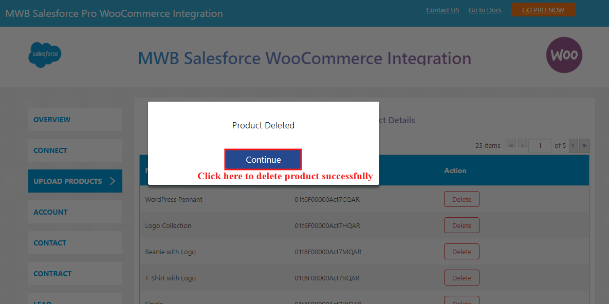 salesforce-woocommerce-integration-delete-product-successfully