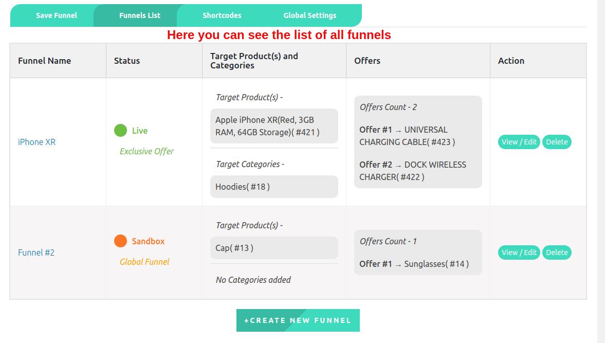 upsell funnel list