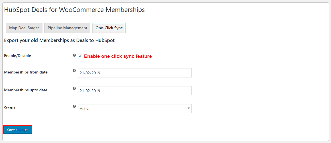 hubspot-deals-for-woocommerce-membership-enable-one-click-sync-feature