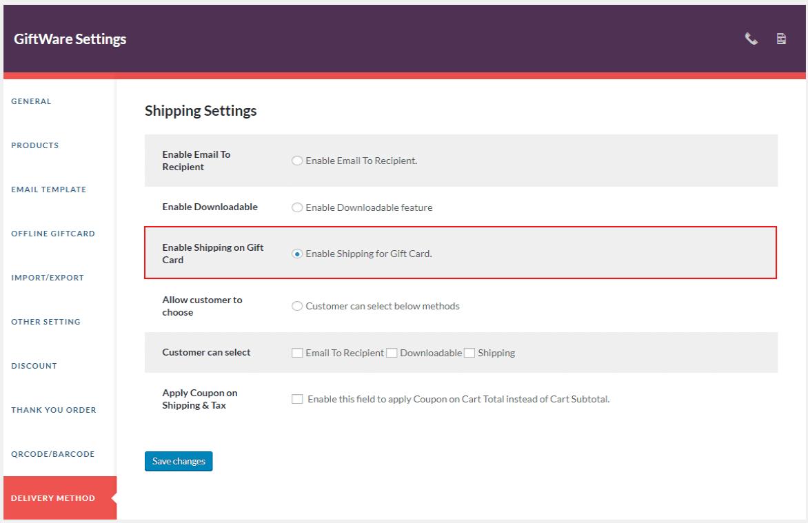 giftware-shipping-setting