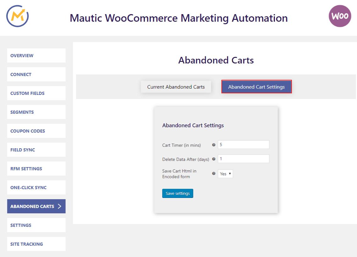 mautic-woocommerce-integration-abondoned-cart-setting