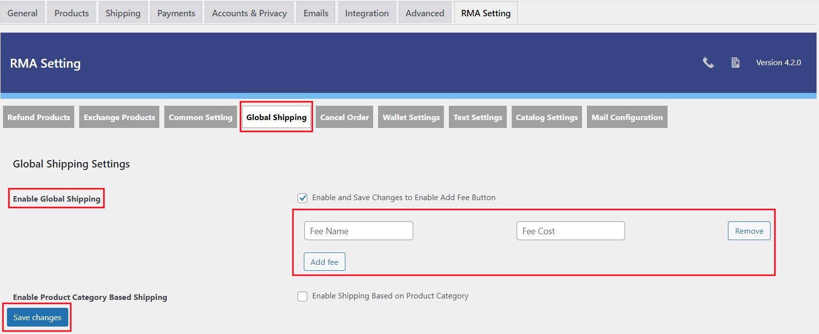 enable add fee setting
