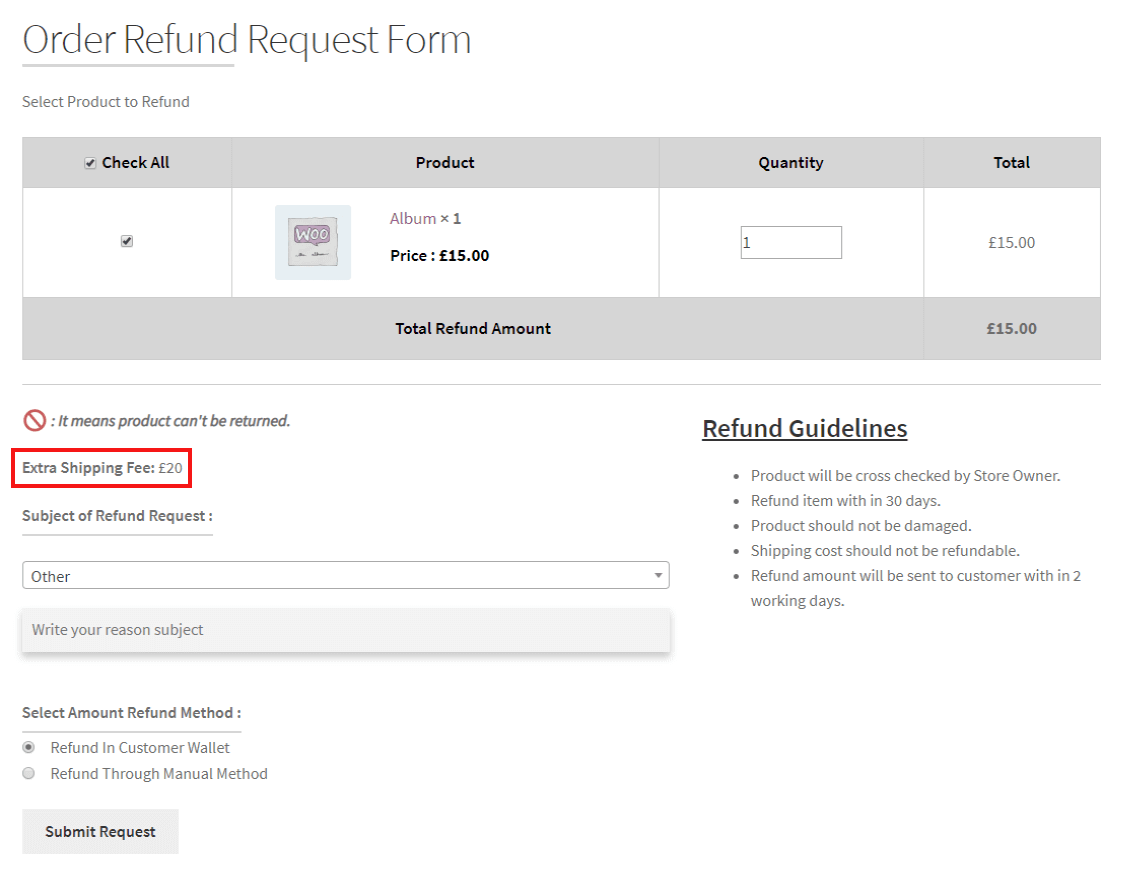 woocommerce-return-refund-exchange-refund-request-form