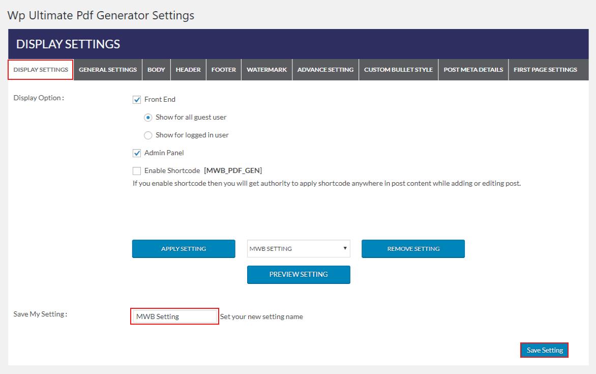 woocommerce-ultimate-pdf-generator-display-setting