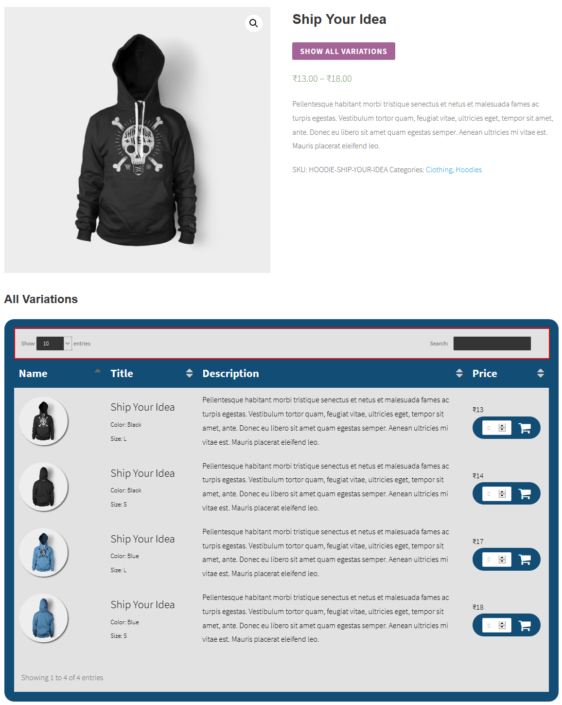woocommerce-product-variation-table