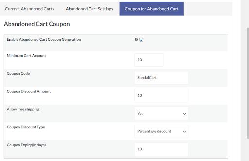 enable mautic abandoned cart coupon