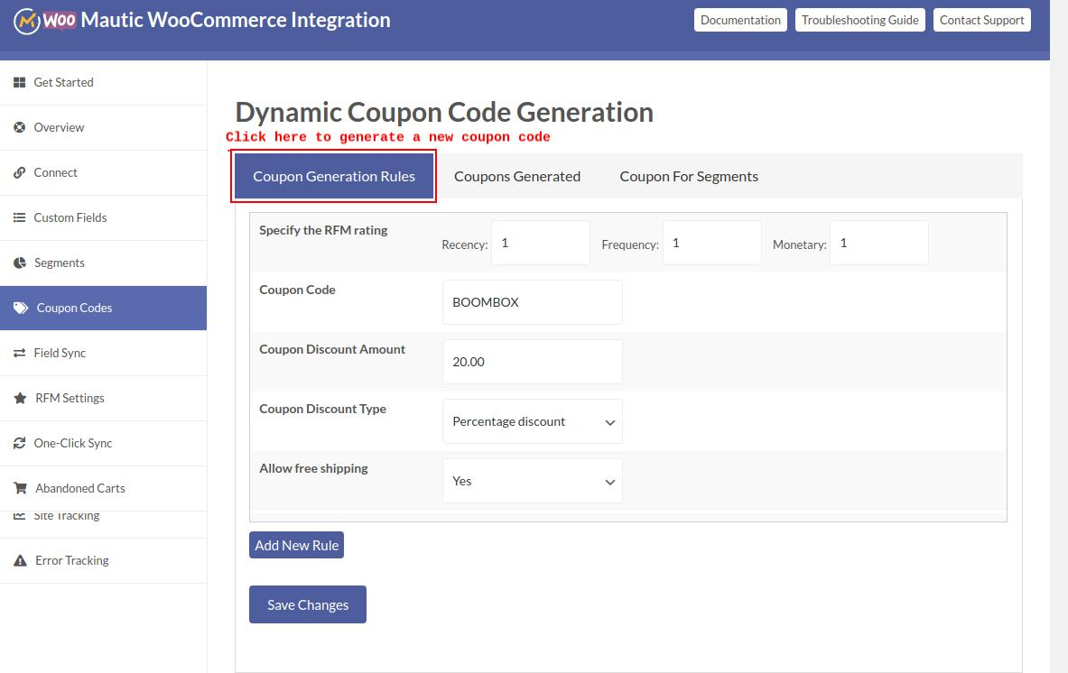 Dynamic-coupon-code
