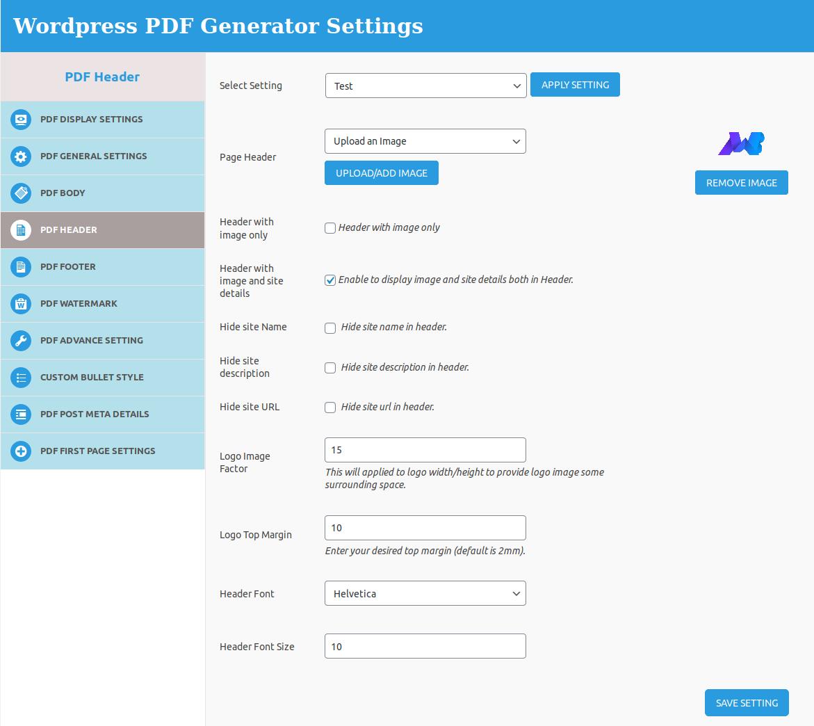 pdf-header-setting