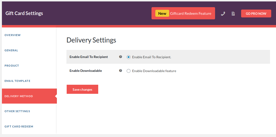 delivery setting