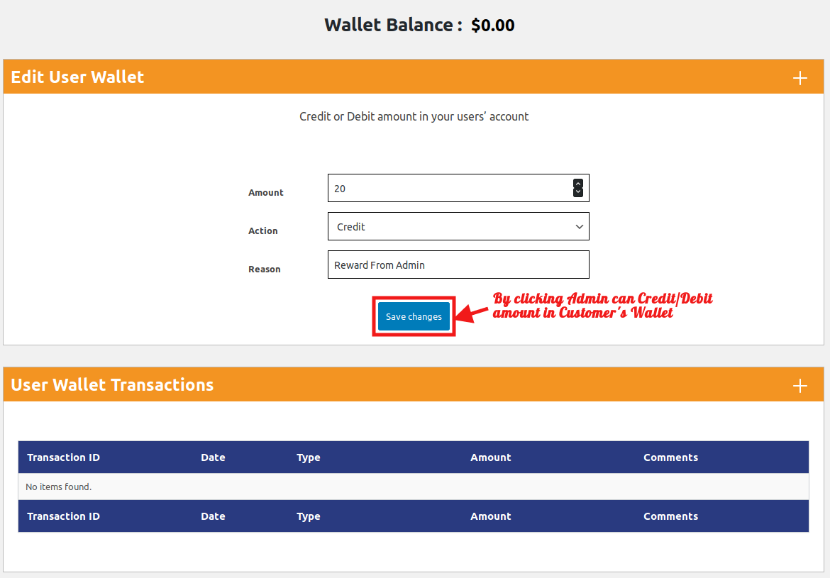 Wallet system for Woocommerce