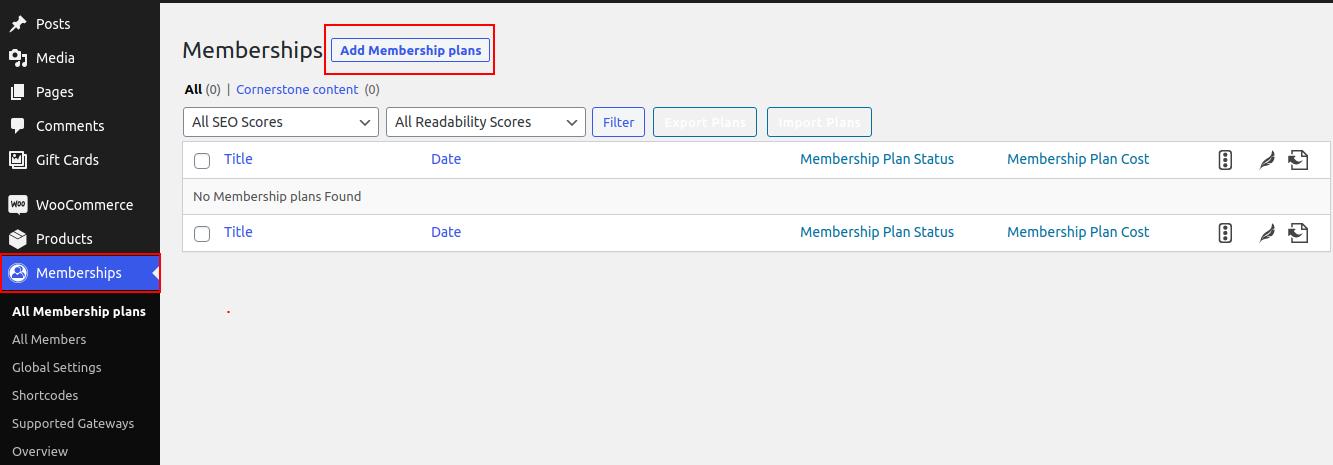 Add Membership Plan