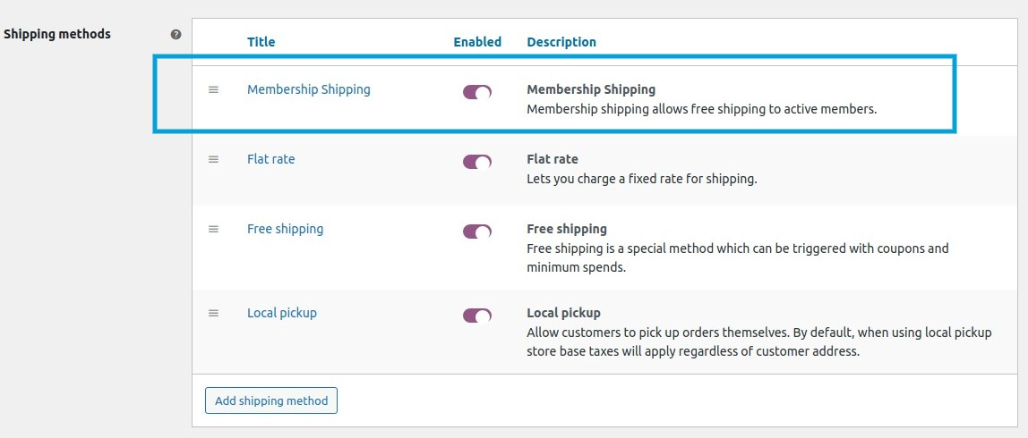 All shipping methods including membership