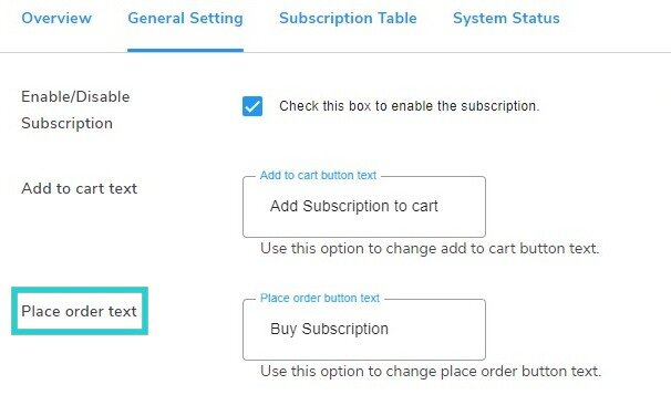 Subscription Edit Place Order Text