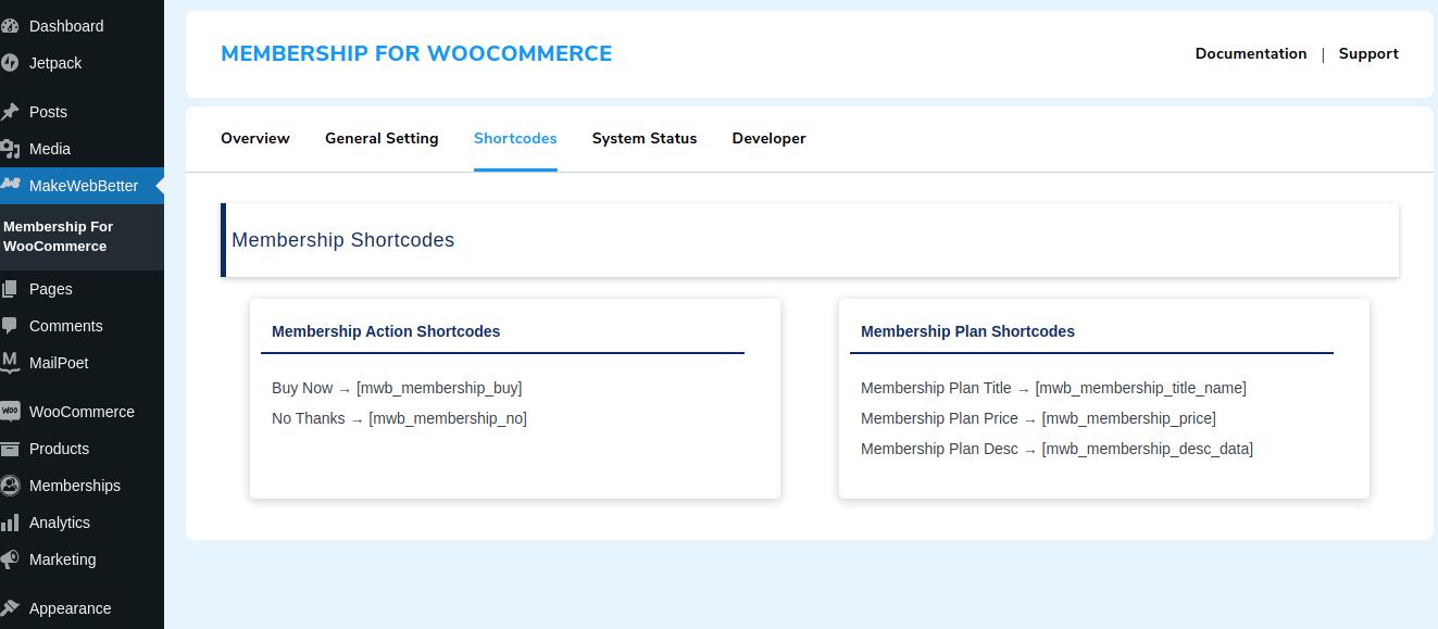 Membership Shortcodes
