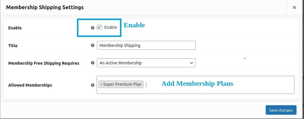 Membership shipping settings