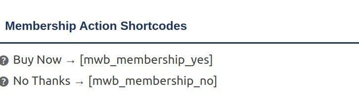 membership action shortcode