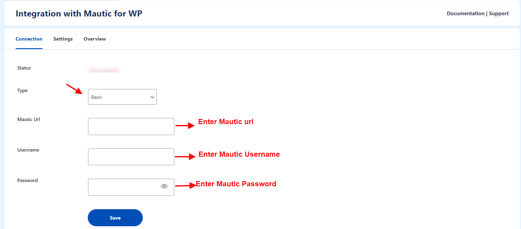 connection setting mautic wp integration