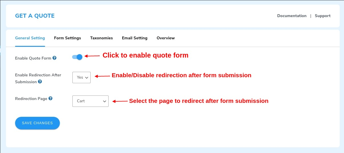 enable quote settings