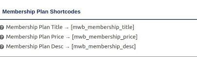 membership plan shortcode