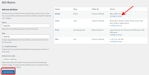 attributes setting