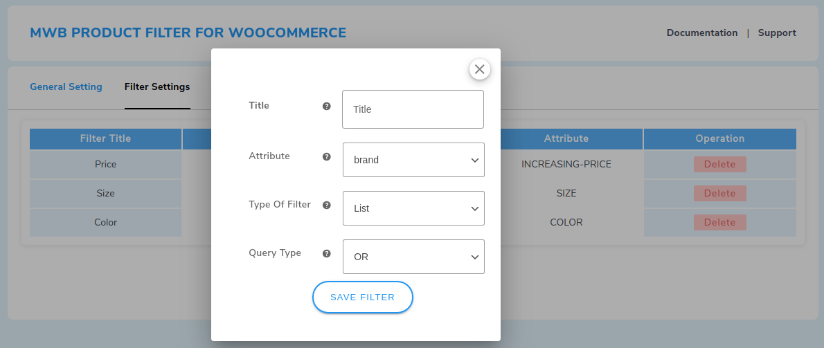 select filter type