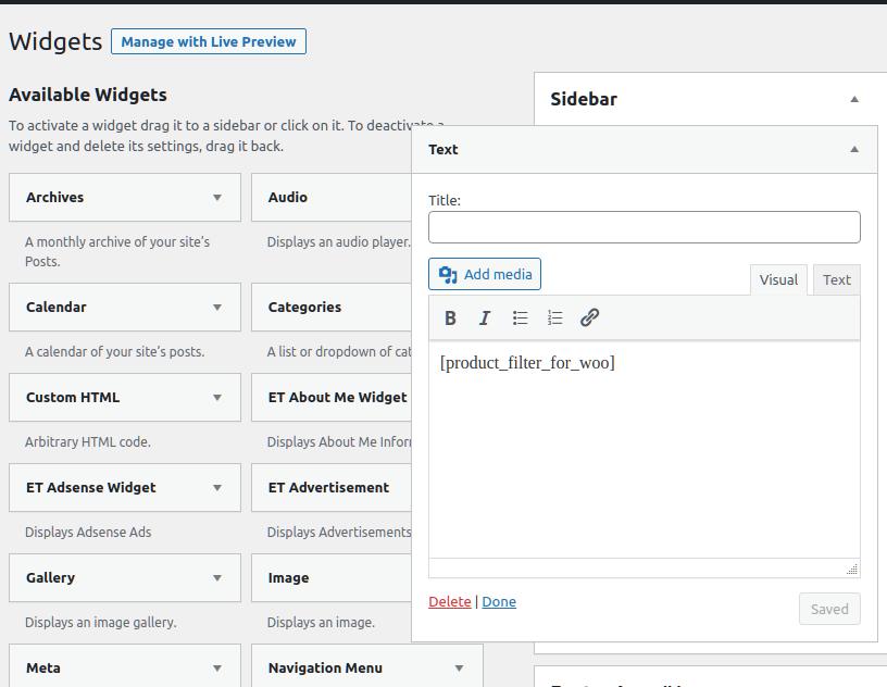 product filter widgets