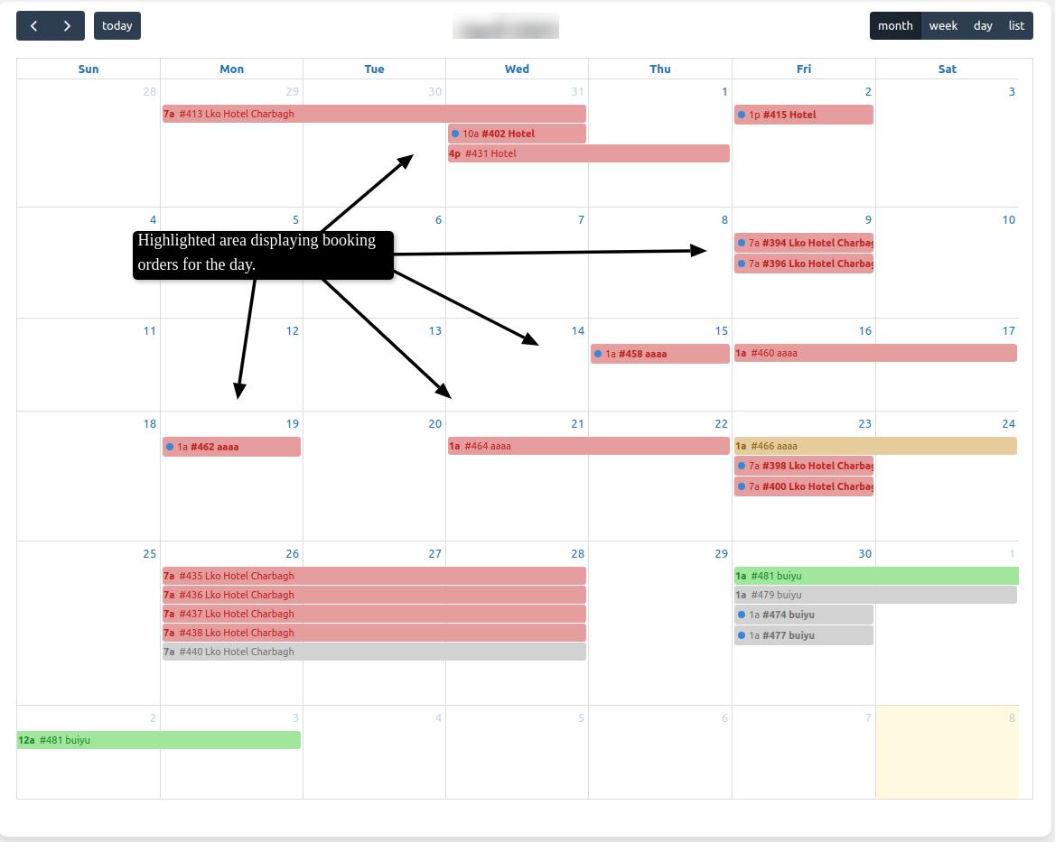 bookings calendar view