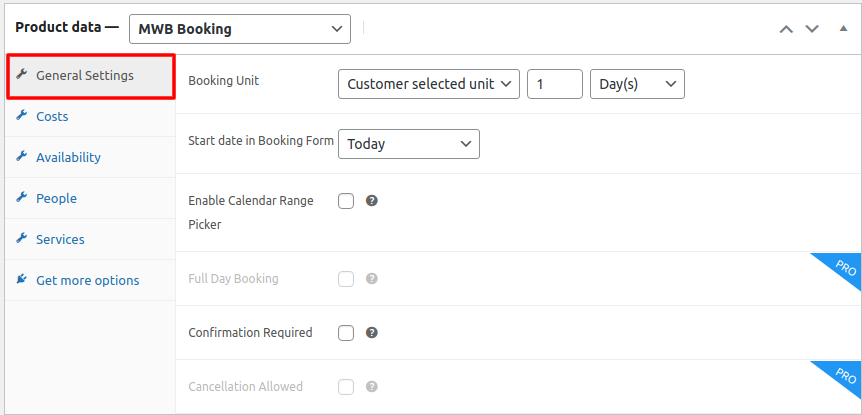 bookings product settings