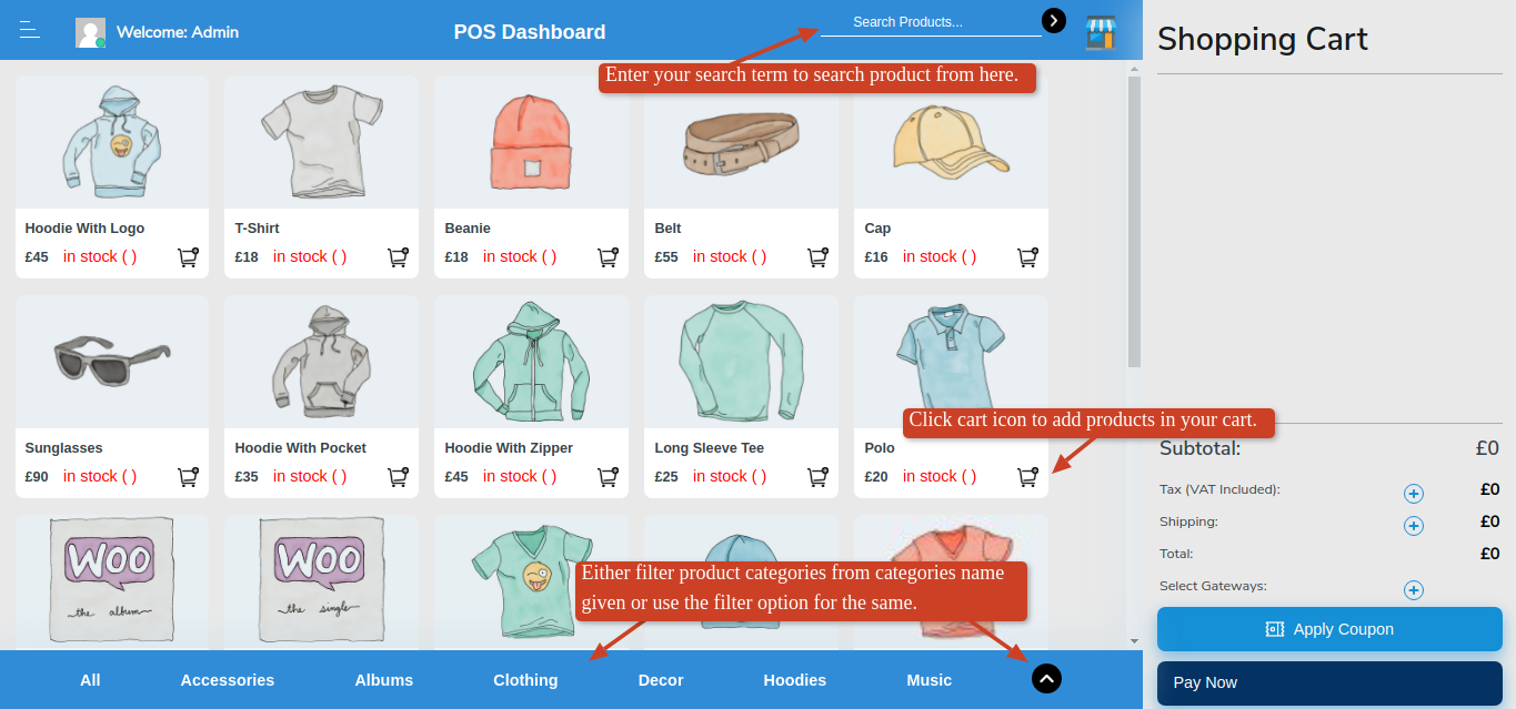 POS Dashboard after Logging In