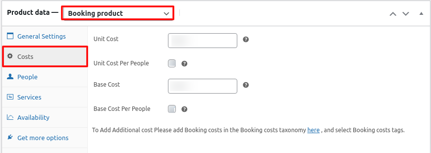 product data cost settings