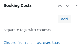 add booking cost to product