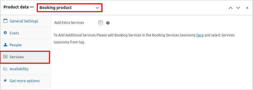 product data services settings