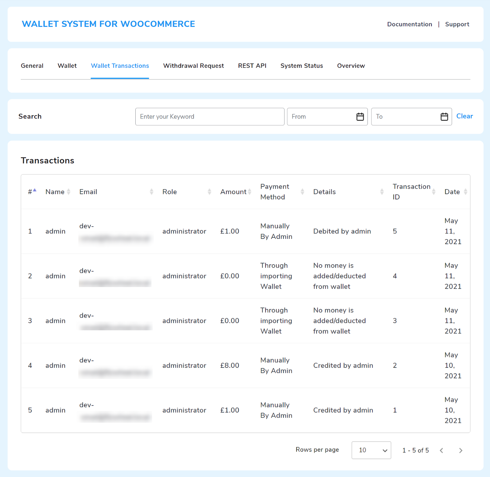 Wallet Transactions setting