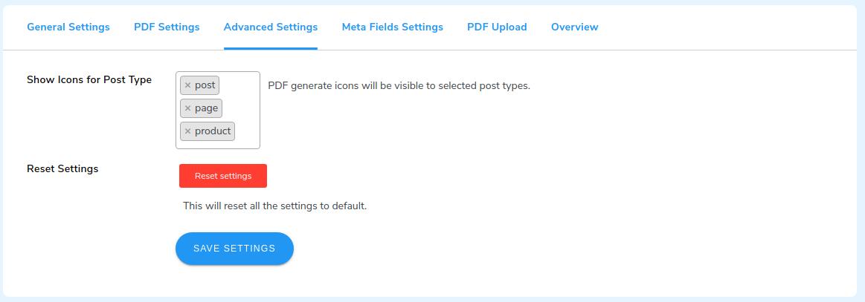 pdf advance setting