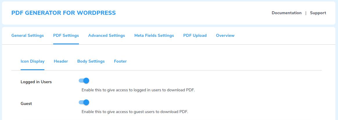 pdf icon settings