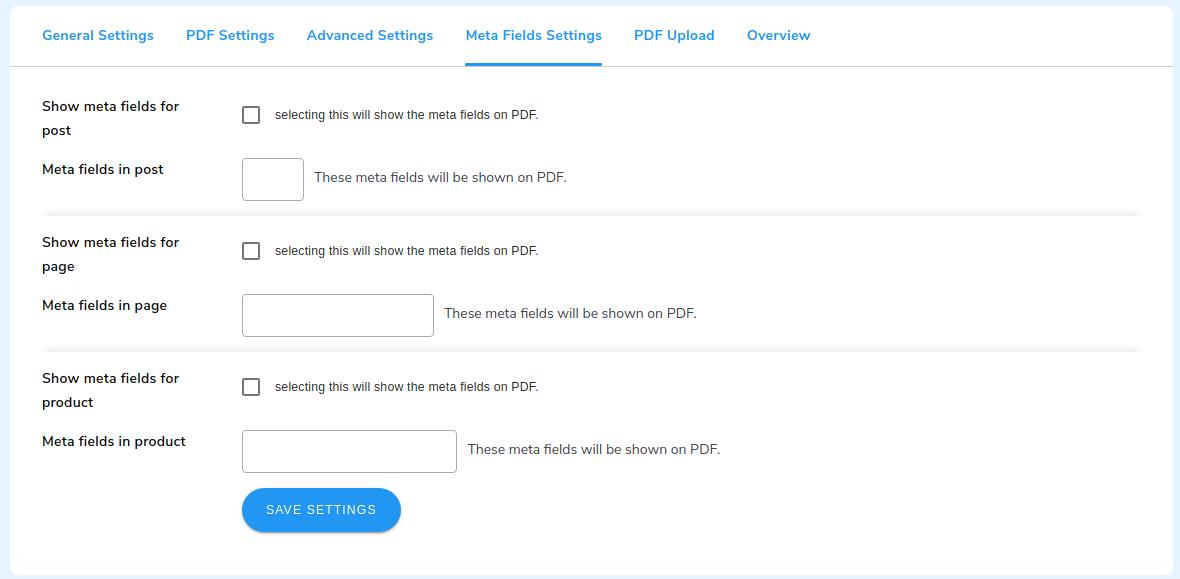 pdf meta field setting
